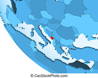 Montenegro on blue political globe - Montenegro highlighted...