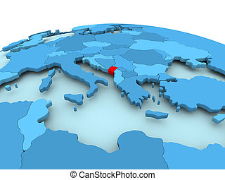 Montenegro on blue political globe - Map of Montenegro in...
