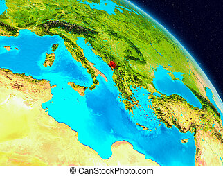 Montenegro on Earth - Space view of Montenegro highlighted...