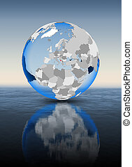 Montenegro on globe in water - Montenegro In red on globe...