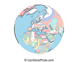 Montenegro on globe isolated