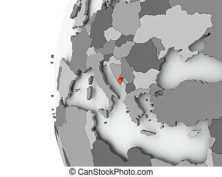 Montenegro on globe with flag - Illustration of Montenegro...
