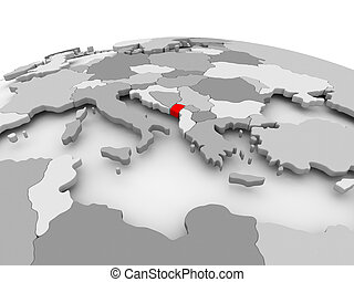 Montenegro on grey globe - Montenegro in red on grey model...