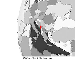 Montenegro on grey globe - Montenegro highlighted on grey 3D...