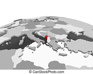Montenegro on grey globe - Montenegro in red on grey model...