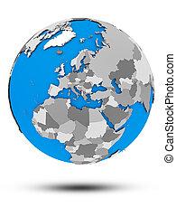 Montenegro on political globe isolated