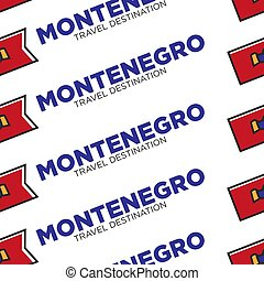 Montenegro travel destination with national flag seamless pattern