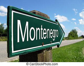 montenegro, wegwijzer, langs, een, landelijke straat