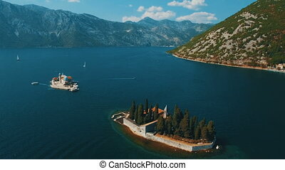 Montenegro,Perast.Flying over Sveti Dorde island at the sea.Aerial drone footage