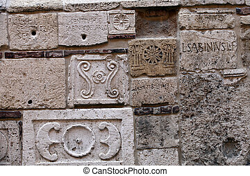 Montepulciano - Palazzo Bucelli -stones from the Etruscan and Roman ages