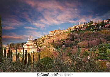 Montepulciano, Siena, Tuscany, Italy: landscape at sunset of...