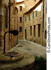 Montepulciano village in Tuscany, Italy - Street of ...