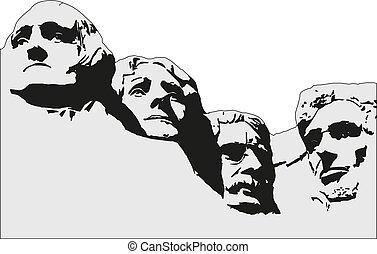 monter, image., memorial., 4, présidents, rushmore, vecteur...