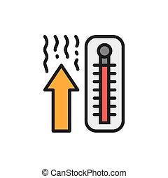 monter, thermomètre, couleur, icon., ligne fixe, température