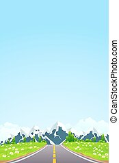 monter, vert, route, paysage