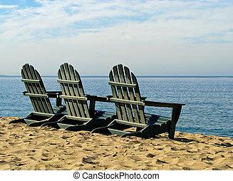 monterey, stühle, bucht, kalifornien, adirondack, sandstrand