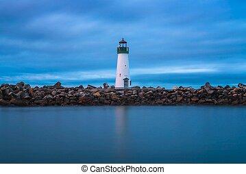 monterey, világítótorony, kikötő, öböl, walton, cruz, kalifornia, szent