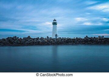 monterey, világítótorony, kikötő, öböl, walton, cruz, szent