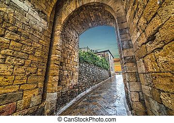 Monteriggioni city wall at sunset