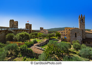 Monteriggioni medieval town in Tuscany Italy