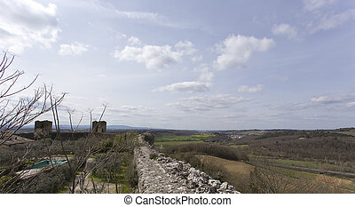 Monteriggioni medieval walled town in Tuscany, Italy