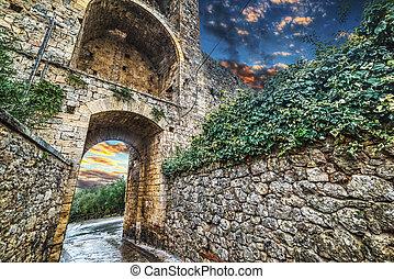 monteriggioni, pared de ciudad, debajo, un, colorido, cielo