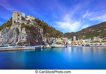Monterosso village, harbor and sea bay. Cinque terre,...