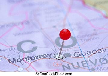 monterrey, mapa, américa, fixado