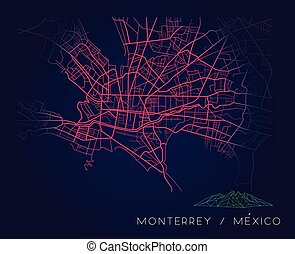 Monterrey Mexico city map digital illustration