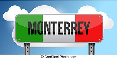 monterrey Mexico road street sign