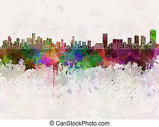 Monterrey skyline in watercolor