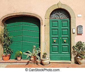 montescudaio, ドア, 村, tuscan, 飾られる, 花