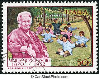 montessori, italie, timbre, -, 1970, (1870-1952), imprimé, dr., enfants, environ, spectacles, 1970:, maria