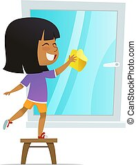 montessori, onderwijs, concept, was, smilind, illustratie, aan het binden, vector, venster, activities., meisje, spotprent