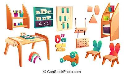 montessori, scuola, elementi, set, vettore, elementare
