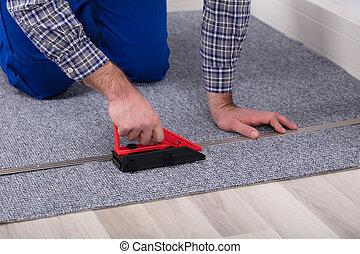 monteur, werktuig, installeren, tapijt