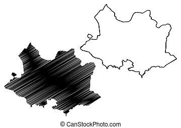 Montevideo Department (Departments of Uruguay, Oriental Republic of Uruguay) map vector illustration, scribble sketch Montevideo map