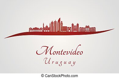 Montevideo skyline in red and gray background in editable...