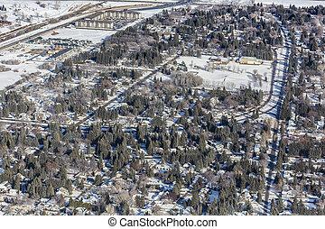 Aerial view of the Montgomery neighborhood of Saskatoon.  February 26, 2016