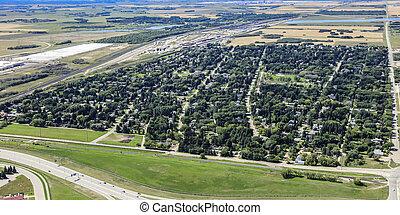 Aerial view of the Montgomery neighborhood of Saskatoon looking East.  August 20, 2016