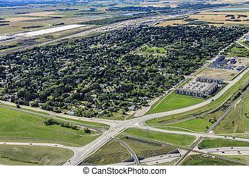 Aerial view of the Montgomery neighborhood of Saskatoon looking SE.  August 20, 2016