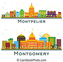 Montgomery Alabama and Montpelier Vermont City Skyline Set with Color Buildings Isolated on White.