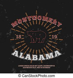 Montgomery Alabama. t-shirt graphic print. Vector...