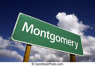Montgomery Road Sign with dramatic blue sky and clouds - U.S. State Capitals Series.