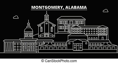 Montgomery silhouette skyline. USA - Montgomery vector city, american linear architecture, buildings. Montgomery travel illustration, outline landmarks. USA flat icons, american line banner