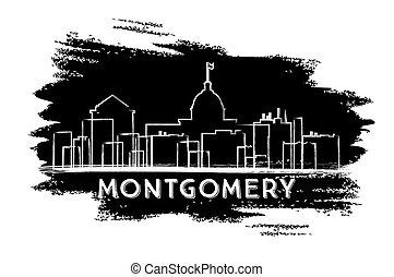 Montgomery Skyline Silhouette. Hand Drawn Sketch.