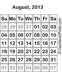 month August 2013 Calendar