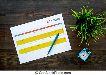 month., fond, vue, concept., bois, reveil, tâches, buts, horloge, sommet, sombre, mois, vide, planification, calendrier
