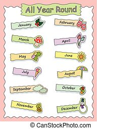 set of icons for each month of the yeat