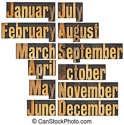 month in letterpress wood type - 12 months from January to ...